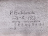 Napis w celi izolacyjnej nr 6 , fot.  Dokumentacja konserwatorska PKZ, 1966